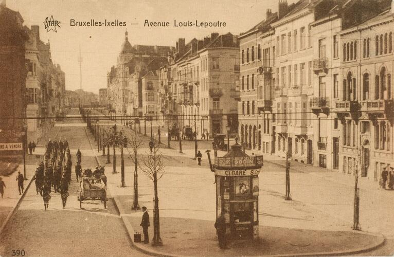 Avenue Louis Lepoutre, vue vers place Georges Brugmann, ca. 1910 (Collection de Dexia Banque).